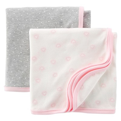 Just One You™Made by Carter's® Newborn Girls' 2 Pack Hearts and Dots Blanket Set
