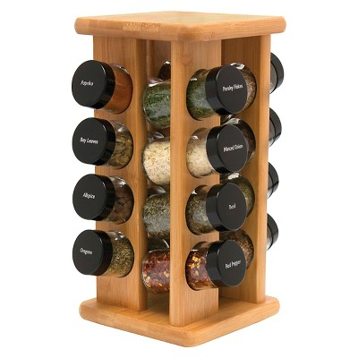 Lipper Bamboo Spice Rack with 16 Filled Spice Bottles