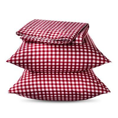 Elite Home Gingham Sheet Set - Red (King)