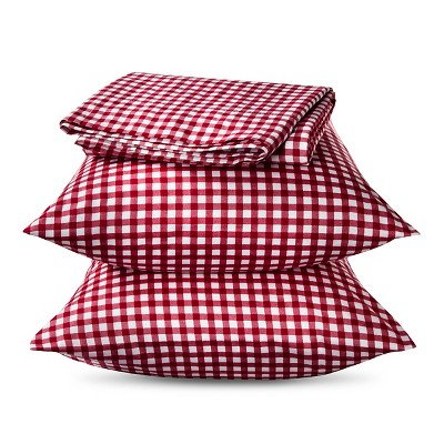 Elite Home Gingham Sheet Set - Red (Twin)