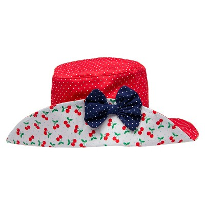 Toddler Girls' Polka Dot Floppy Hat - Red Cherry 2T-5T