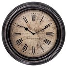 Map Wall Clock - Distressed Bronze 14""