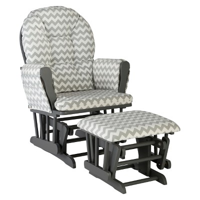 Stork Craft Hoop Gray Glider and Ottoman - Gray Chevron