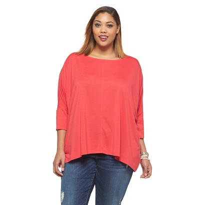 Women's Plus Size Oversized Leisure Top Pink X-Ava & Viv