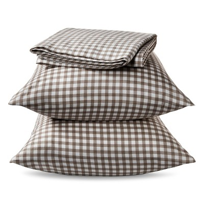 Gingham 300TC Sheet Set - Tan (Queen)