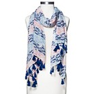 Women's Striped Fish Print Scarf with Tassels - Blue