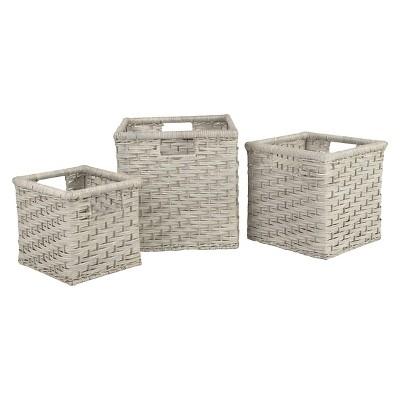 Decorative Basket Metro Rattan Dark Grey Square
