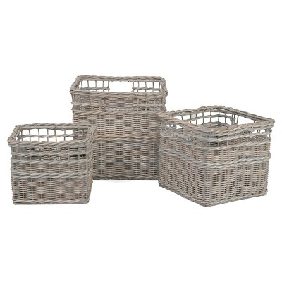 Decorative Basket Metro Wicker Light Grey Square