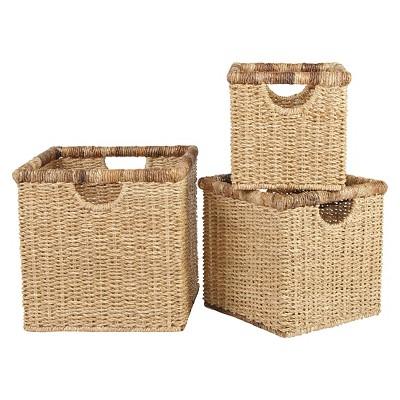 Metro Square Seagrass with Abaca Rim Storage Basket - Set of 3
