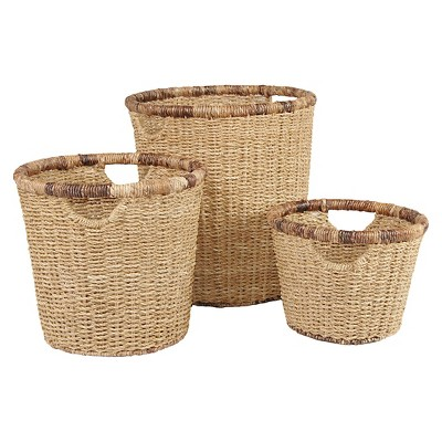 Decorative Basket Metro Seagrass Light Brown Round