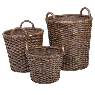 Decorative Basket Metro Rattan Brown Round