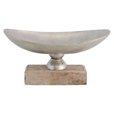 Decorative Bowl Import Collection Silver Aluminum