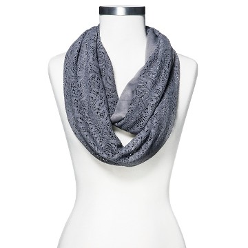 Women's Crochet and Knit Infinity Loop Scarf Gray - Xhilaration™