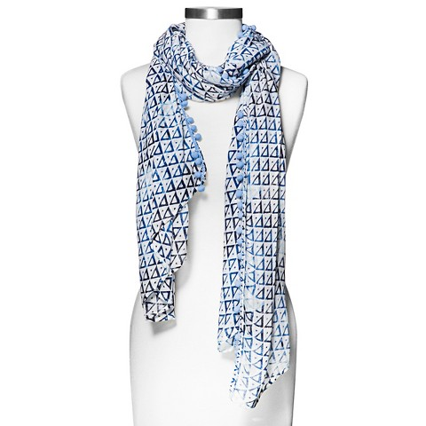 Women's Triangle Print Scarf with Pom Trim - Blue