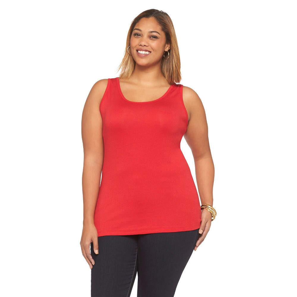 Women's Plus Size Basic Tank Top Really Red Ava & Viv