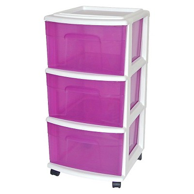 3-Drawer Medium Plastic Storage Cart - White/Purple - Room Essentials™