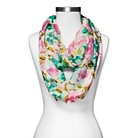 Women's Woven Floral Print Infinity Scarf - White