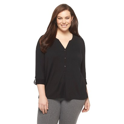 Women's Plus Size Long Sleeve Popover Top-Ava & Viv