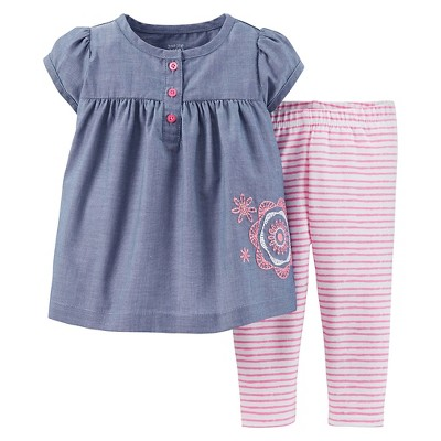 Just One You™Made by Carter's® Girls' 2 Piece Embroidered Top and Stripe Bottoms Set NB