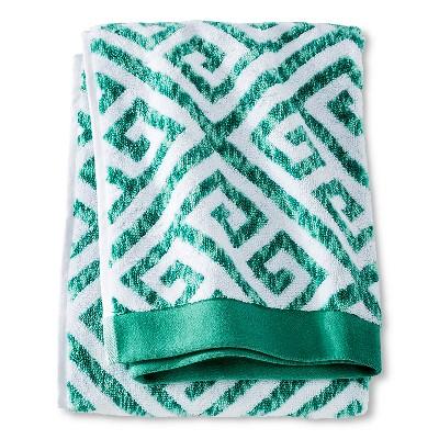 Bath Towel Green Greek Key - Threshold™