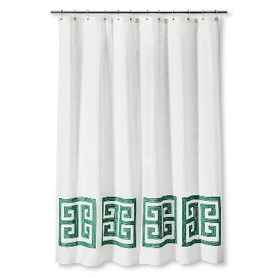 Shower Curtain Green Greek Key - Threshold™