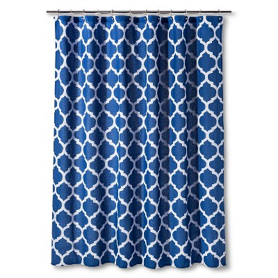Shower Curtain Dark Blue Space Dye Lattice - Threshold™