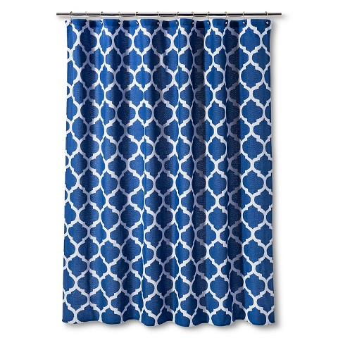 Shower Curtain Dark Blue Space Dye Lattice