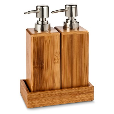 Threshold Double Bamboo Soap Dispenser with Tray