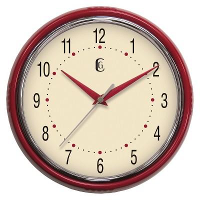 "Geneva Retro Diner Wall Clock - 9.5"" Diameter - Red"