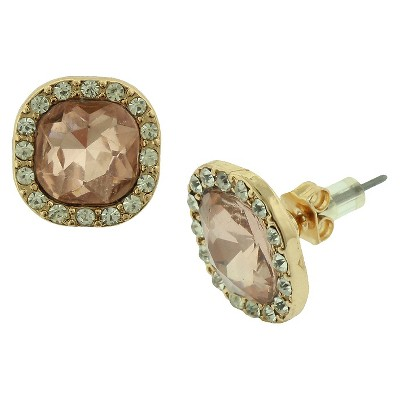 Women's Stud Earrings with Glass Stone - Gold/Pink