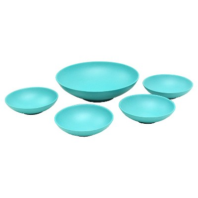 5 Piece Melamine Serving Bowl Set  with Concrete Speckle Finish - Turquoise - Threshold™