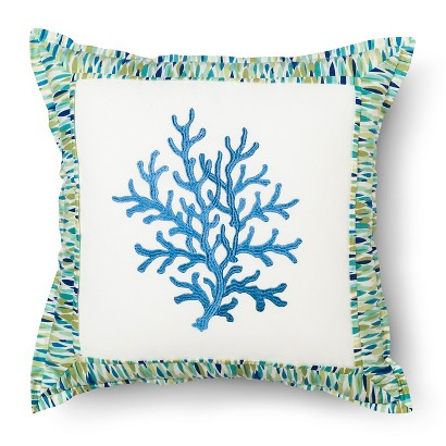 """Waverly Marine Life Embroidered Accent Pillow - Pool (18""""x18"""")"""