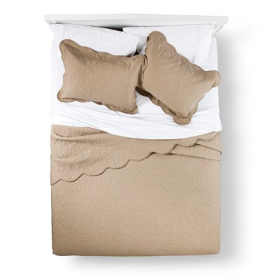 Quilt Set Waverly KING Taupe Brown