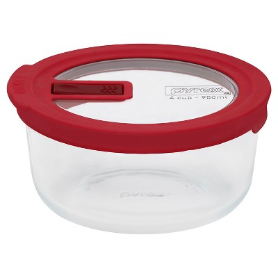 Pyrex No Leak Lid Storage 4cp Round  - Red