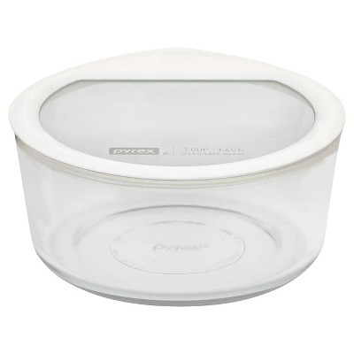 Pyrex No leak Glass Lids Storage 7 cup Round - White