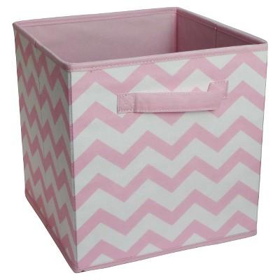 Fabric Cube Storage Bin Circo Pink Chevron