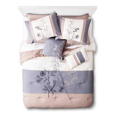 Hampshire Floral 8 Piece Comforter Set - Blue/Taupe (Queen)