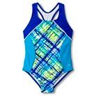 Speedo Girls' 1-Piece Plaid Paint Side Splice Swimsuit