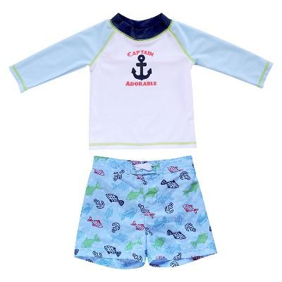 Newborn Boys' Captain Adorable Rash Guard - Blue/White 6-9M