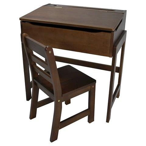 Kids Slanted Top Desk with Chair Walnut Casua Tar
