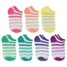 Girls' 7-Pack Metallic Striped No-Show Socks