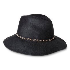 Women's Fedora Hat with Braided Sash and Wide Brim - Black - Mossimo Supply Co.™