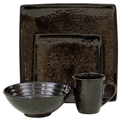 Sango Galaxy 16 Piece Dinnerware Set - Black