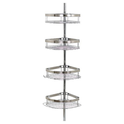 Zenna Home Dual Tone 4-Tier Rust-Resistant Bathtub & Shower Pole Caddy - Chrome/Brushed Nickel