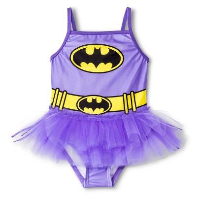 Batman Toddler Girls' 1-Piece Tutu Swimsuit - Purple 2T