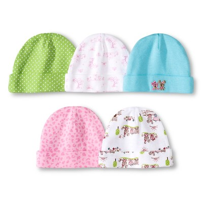 Gerber® Newborn Girls' 5 Pack Cap Set - Aqua