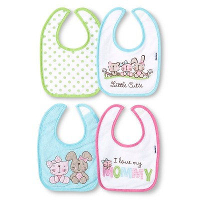 Gerber® Newborn Girls' 4 Pack Terry Bib Set - Turquoise