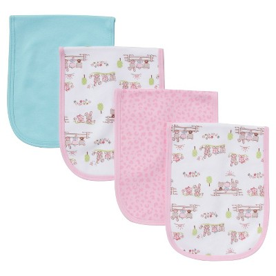 Gerber® Newborn Girls' 4 Pack Burp Cloth Set - Aqua
