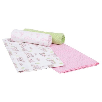 Gerber® Newborn Girls' 4 Pack Flannel Blankets