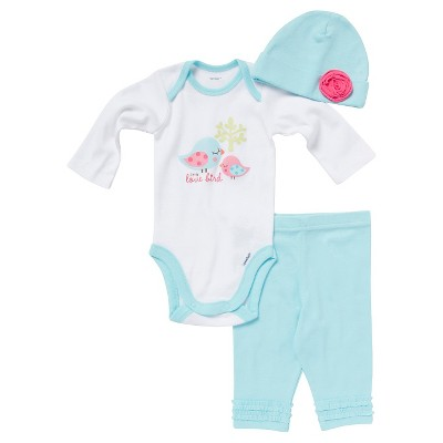 Gerber® Newborn Girls' 3 Piece Set - Aqua 0-3 M